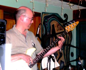 Danny Imig playing his 1985 Fender Performer bass with NORTH OF DIRT at Grumpy's in Warren, PA, 2005.